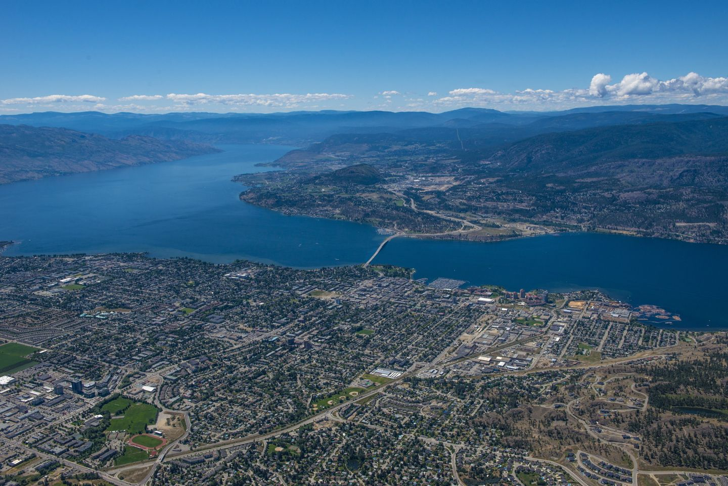 Airial shot of Kelowna