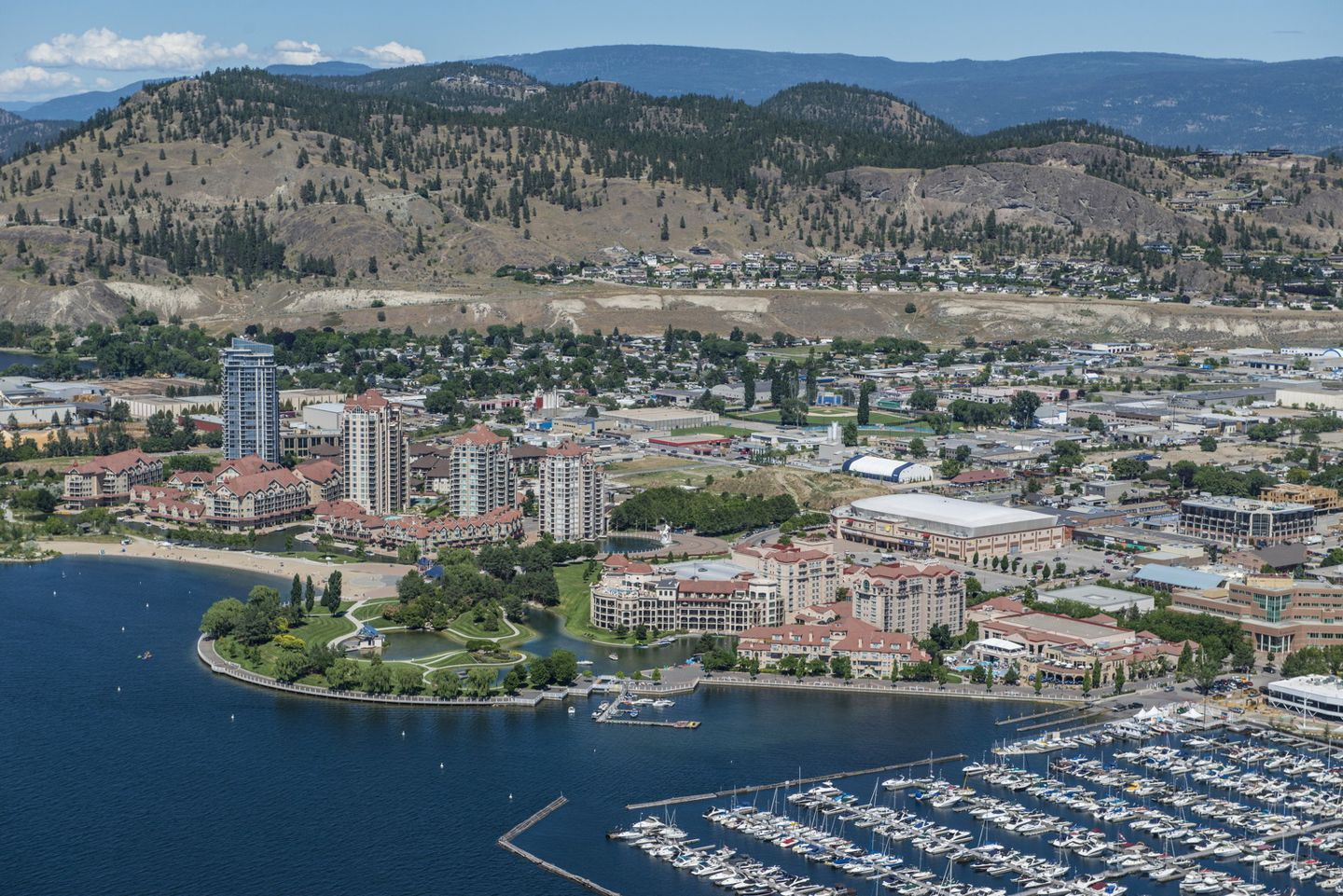 Airial shot of Kelowna downtown
