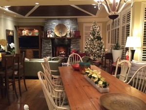 Jane accentuates her home with perfectly placed poinsettias, candles and a sophisticated Christmas tree