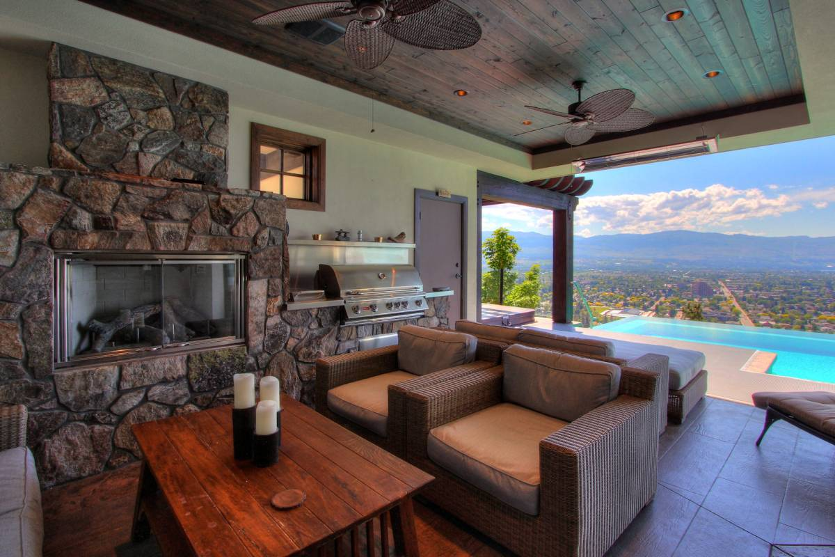 outdoor kitchen and living room with views